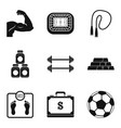 muscle building icons set simple style vector image vector image