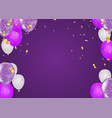 purple and white balloons and on the background vector image vector image