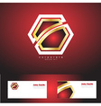 Red corporate hexagon badge gold logo vector image