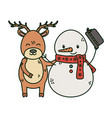 reindeer and snowman with hat celebration merry vector image vector image