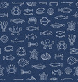 sea food thin line seamless pattern background vector image vector image