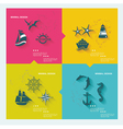 Set of sea labels flat design vector image