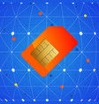 sim telephone card over network background vector image