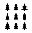 Simple silhouettes of Christmas trees vector image vector image