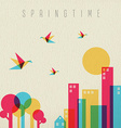 Spring time season tree forest and city vector image vector image