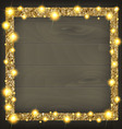 square gold frame on a wooden background vector image vector image