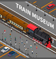 train museum isometric composition vector image vector image