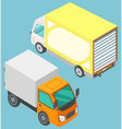 two colorful lorry trucks isolated image vector image vector image