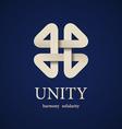 unity paper quarterfoil icon design template vector image vector image