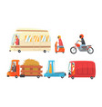 variuos funny cartoon vehicles on the road vector image vector image