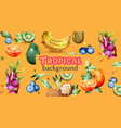 watercolor fruits banner kiwi banana vector image