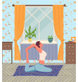 young woman practices yoga or pilates at home vector image