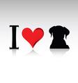 sign i love dog vector image