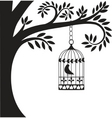 bird cage and tree vector image