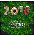 2018 christmas greeting card gingerbread cookies vector image vector image