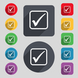 A check mark icon sign A set of 12 colored buttons vector image vector image