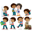 African american boy doing different activities vector image vector image