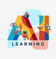 artificial intelligence self learning icon set vector image vector image