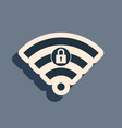 black wifi locked sign icon isolated on grey vector image vector image