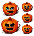 carved faces pumpkins with eyes on halloween vector image vector image