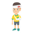 caucasian boy with broken arm and bandaged head vector image vector image