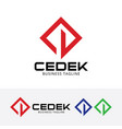 cedek construction logo design vector image