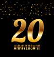 celebrating 20 anniversary emblem template design vector image vector image