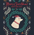 christmas and new year winter dog greeting card vector image vector image