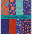 collection 8 seamless winter patterns vector image