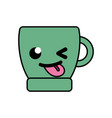 colorful funny coffee cup kawaii cartoon vector image vector image