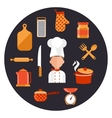 Cooking serve meals and food preparation elements vector image