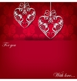 Creeting card with ornament with hearts vector image