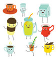 cute soft drink characters collection set vector image vector image
