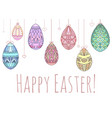 easter card with hanging colorful doodle eggs vector image