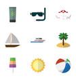 flat icon season set of sphere yacht recliner vector image