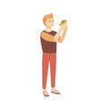 funny young man or teenage boy holding tortoise or vector image