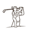 golf players golfer action cartoon sport graphic vector image