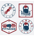 hand holding barbell and kettlebell in emblems of vector image vector image