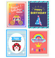 happy birthday little princess set of cute posters vector image vector image