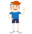 Hipster funny sportsman waving Flat style vector image