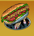 hot dog with sausage and salad man under fast vector image