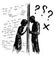 incomprehension couple man woman talking through vector image vector image