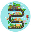 infographic winding road and buildings vector image