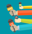 journalism concept with hand holding microphones vector image vector image