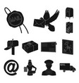 mail and postman black icons in set collection for vector image vector image
