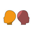 male two heads silhouette vector image vector image