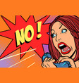 no negation woman screams in phone vector image vector image