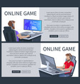online gaming poster with man playing cyber games vector image vector image