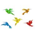 Origami hummingbirds set vector image