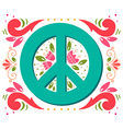 Peace symbol with flowers and decoration elements vector image vector image
